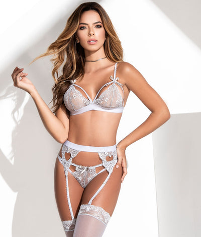 Cage Lace Wireless Bra & Garter Set in Shoreline Grey