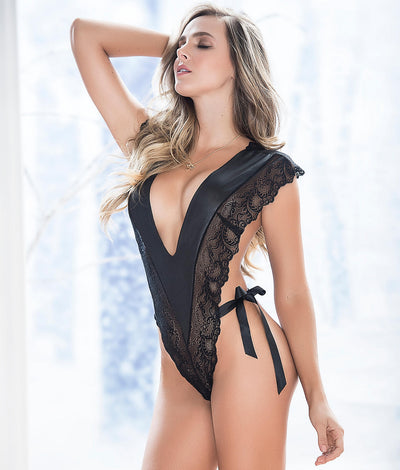 Satin & Lace Deep Plunge Teddy in Black