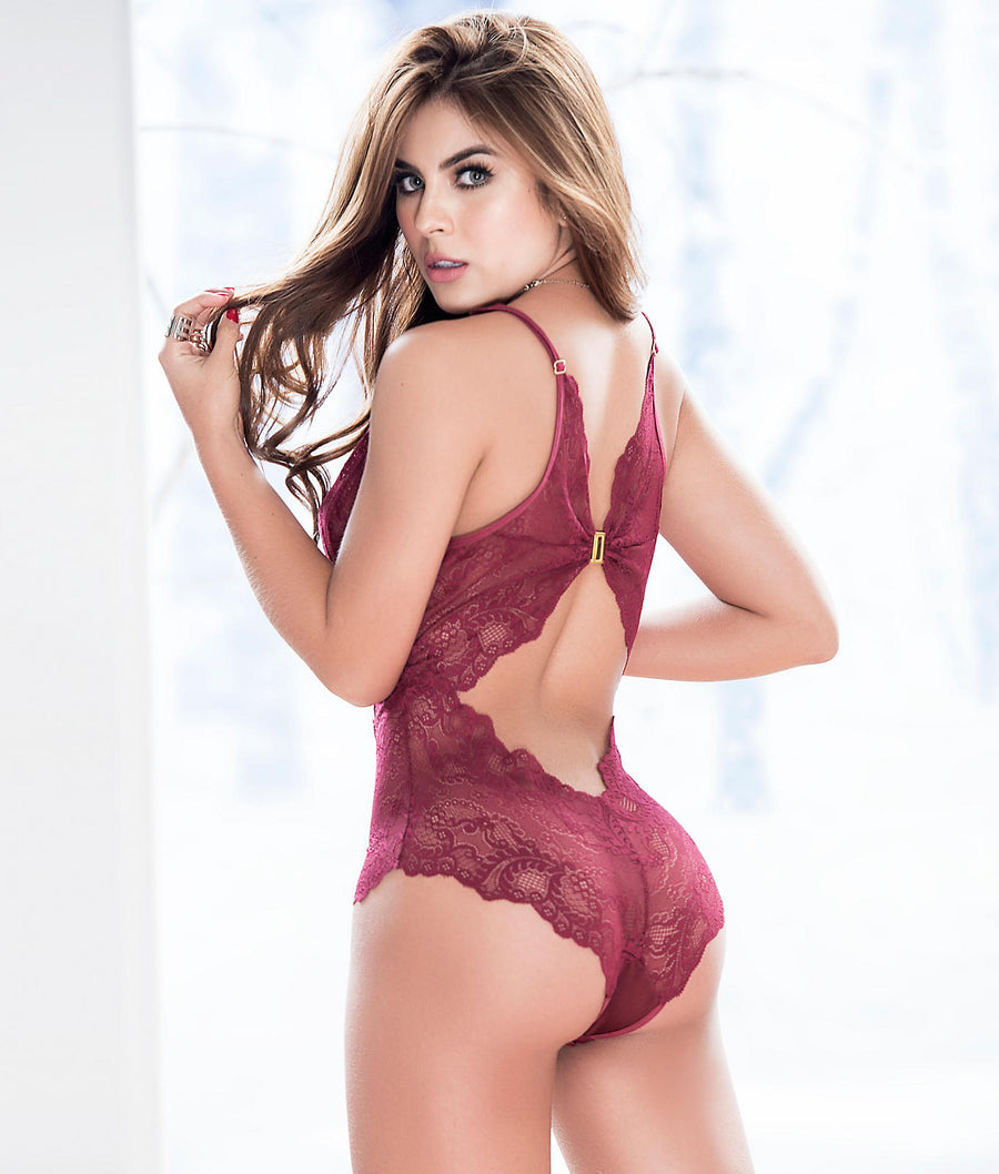 Burgundy Red||Deep Plunge Lace Teddy in Burgundy Red