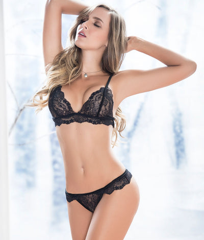 Velvet & Lace Wireless Bra Set in Black