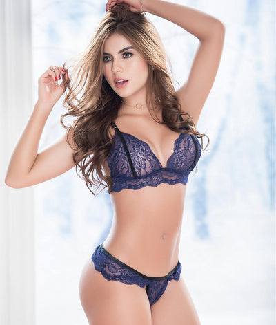 Velvet & Lace Wireless Bra Set in Blue