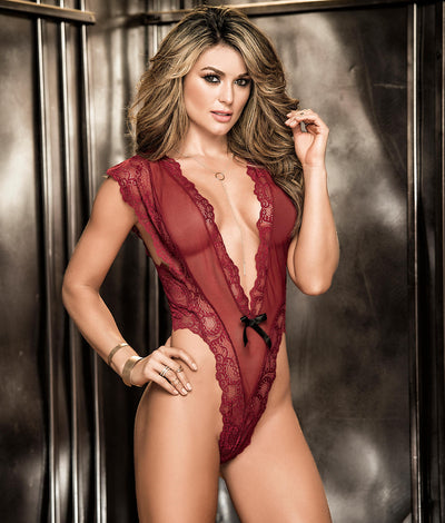 Deep Plunge Lace Teddy in Burgundy Red