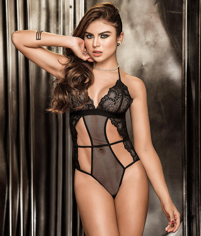 Fishnet & Lace Wireless Halter Teddy in Black