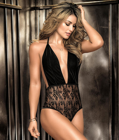 Velvet & Lace Halter Teddy in Black