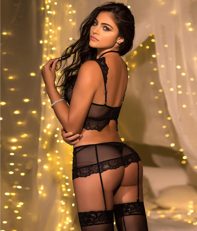 Strappy Longline Bra & Garter Set in Black