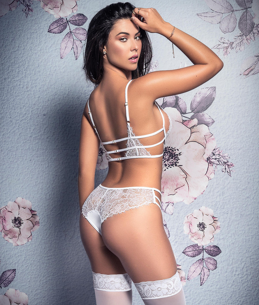 White||Lace Bridal Bra & Panty Set in White