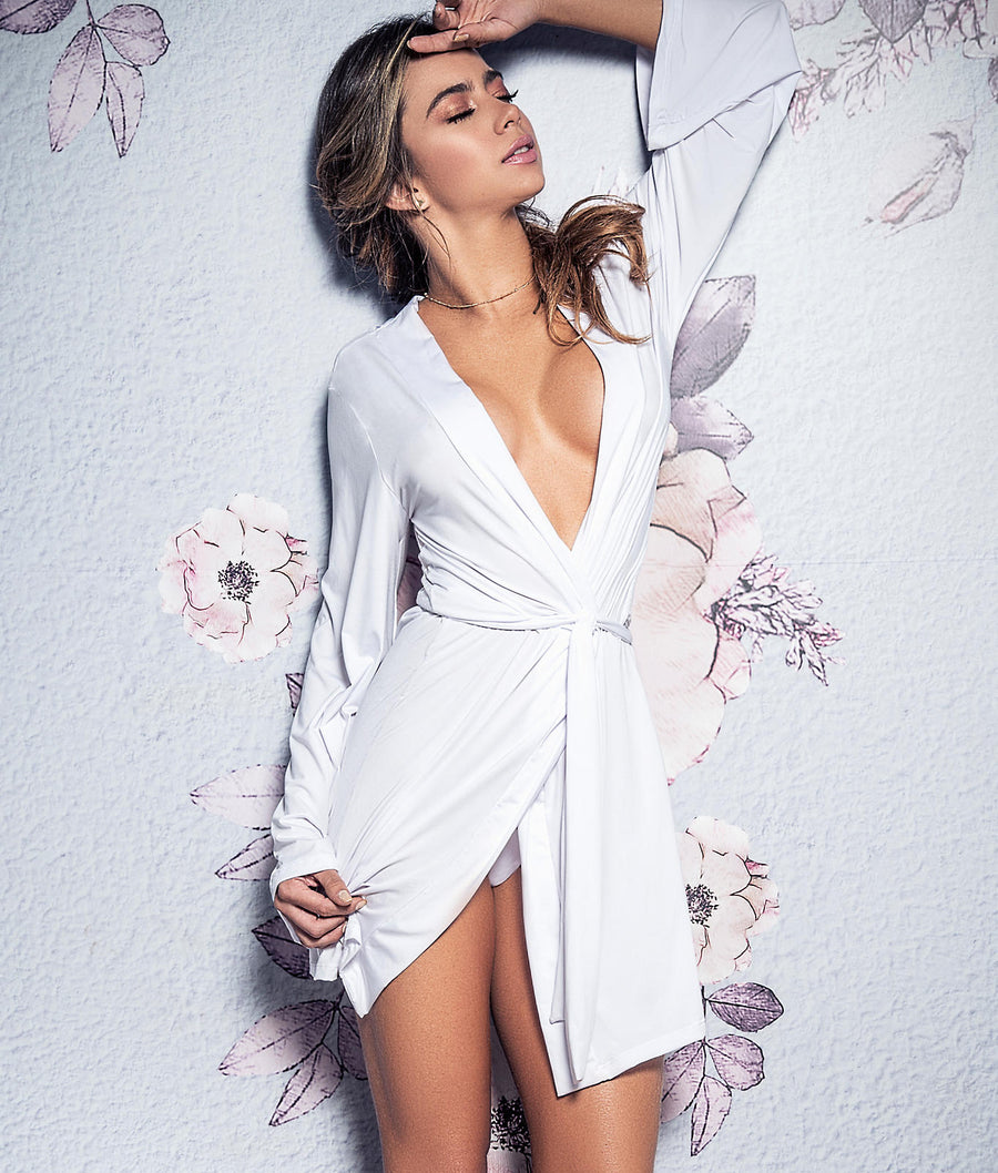White||Bride Robe & Panty Set in White
