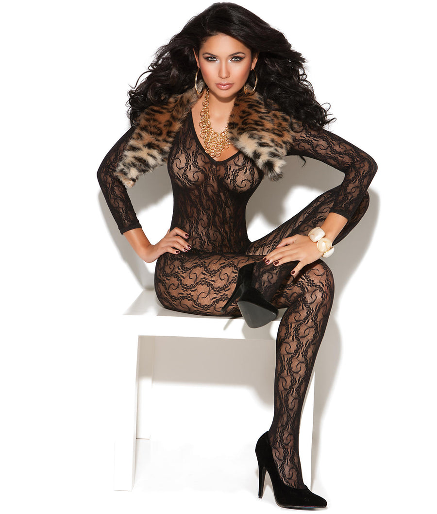 Black||Long Sleeve Crotchless Lace Bodystocking in Black