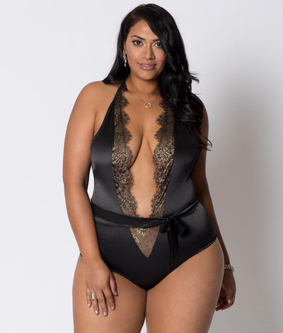 Plus Size Deep V Wire-Free Satin Teddy in Gold / Black