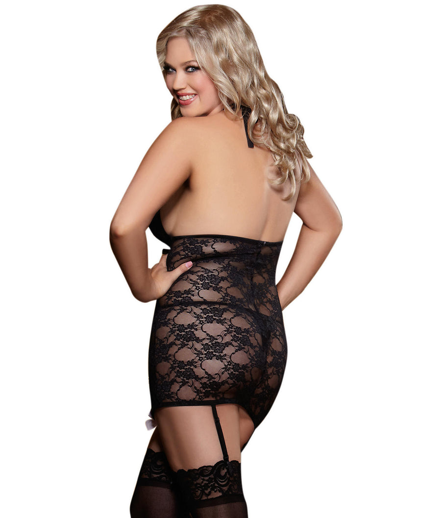 Black||Plus Size Lace Garter Wire-Free Chemise Set in Black