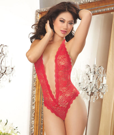 Lace Halter Teddy in Red