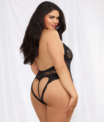 Lace Halter Teddy Plus Size in Black