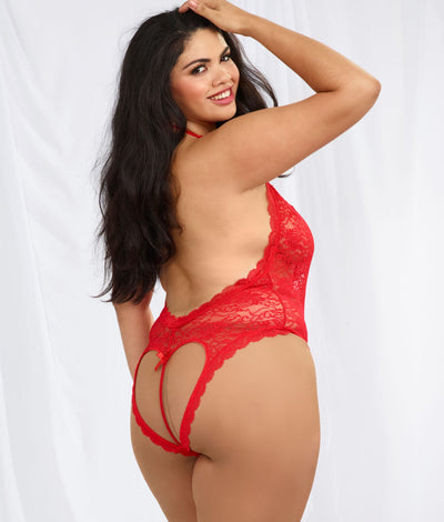 Lace Halter Teddy Plus Size in Red