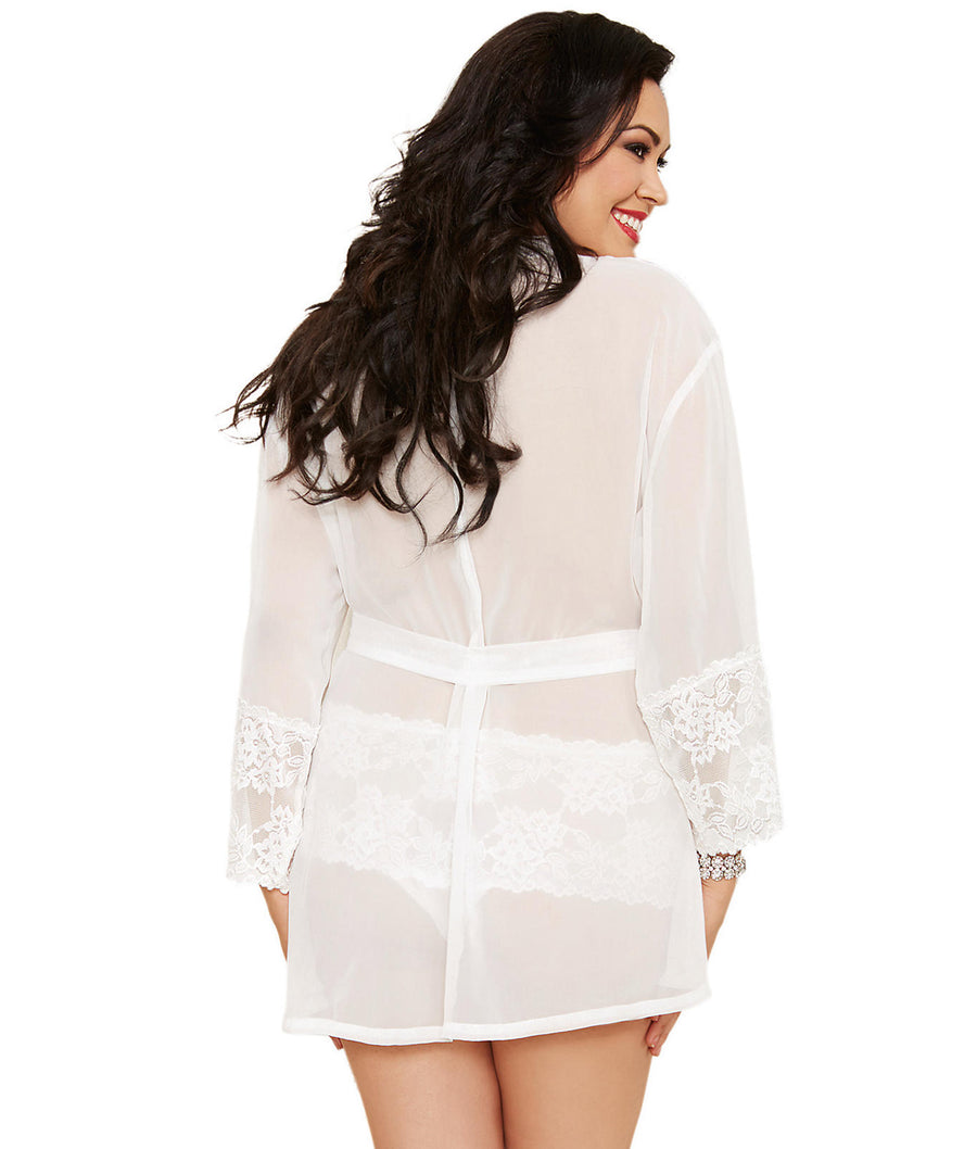 White||Plus Size Chiffon and Lace Robe Set in White
