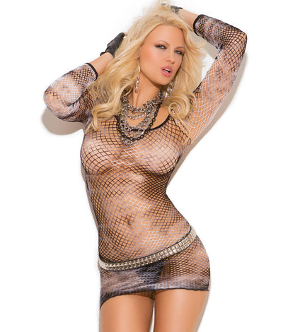 Diamond Net Mini Dress in Black