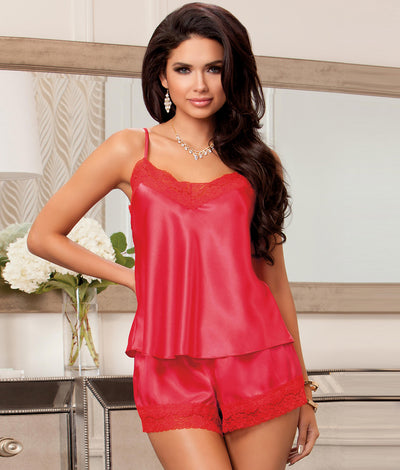 Satin Cami & Short Set in Red