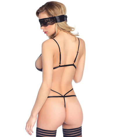 Sweetheart Lace G-String Teddy Set in Black