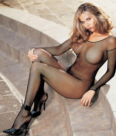 Long Sleeve Fishnet Body Stocking in Black