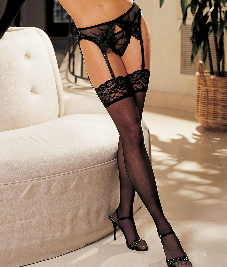 Black||Lace-Top Stockings in Black