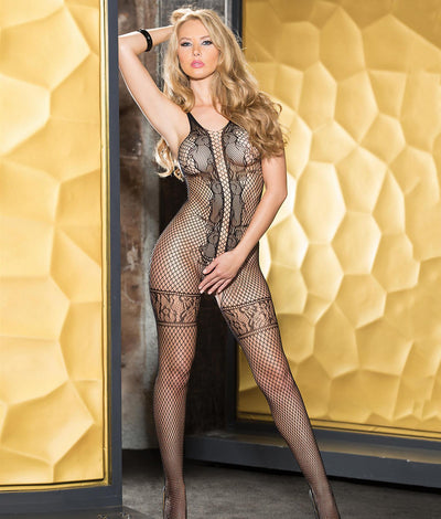 Fishnet Crotchless Bodystocking in Black