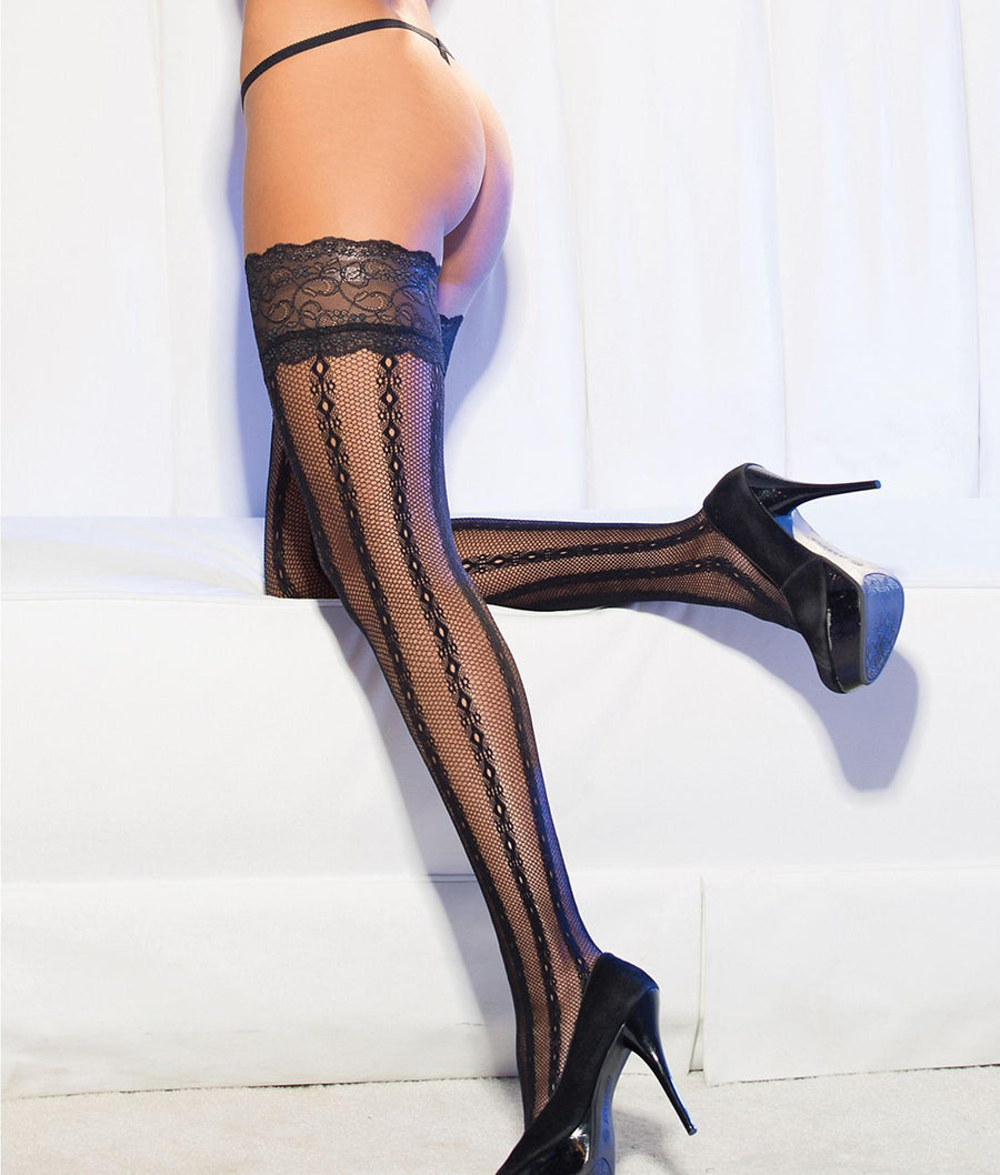 Black||Striped Lace Thigh Highs in Black