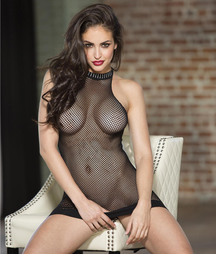 Black||Halter Fishnet Chemise in Black