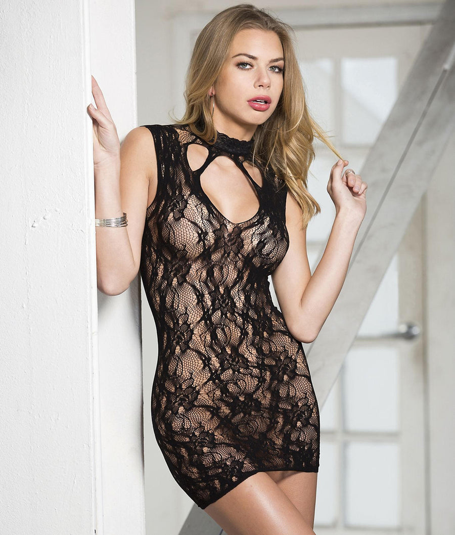 Red||Stretch Lace Chemise in Red