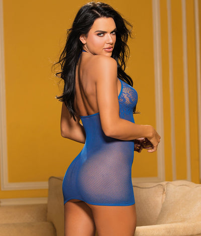 Micro Net Chemise in Royal Blue