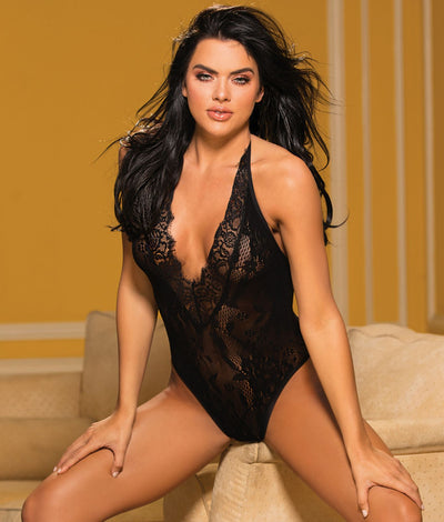 Deep Plunge Lace Teddy in Black