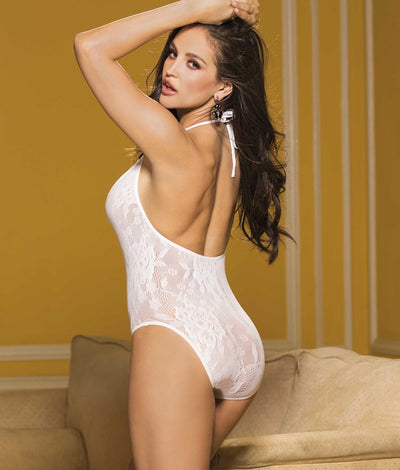 Deep Plunge Lace Teddy in White