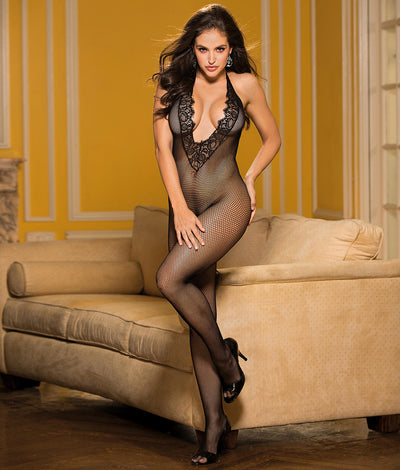 Deep Plunge Crotchless Bodystocking in Black