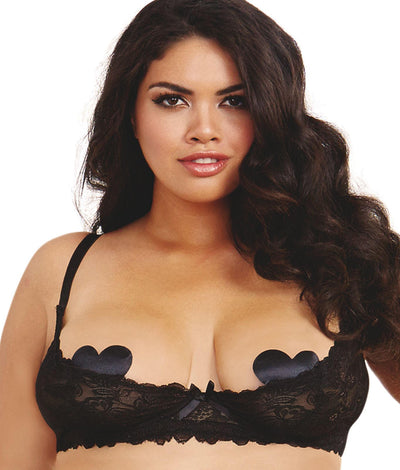 Plus Size Open Cup Shelf Bra in Black
