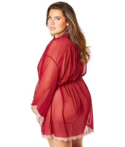Plus Size Sidonie Eyelash Lace Robe in Merlot Red