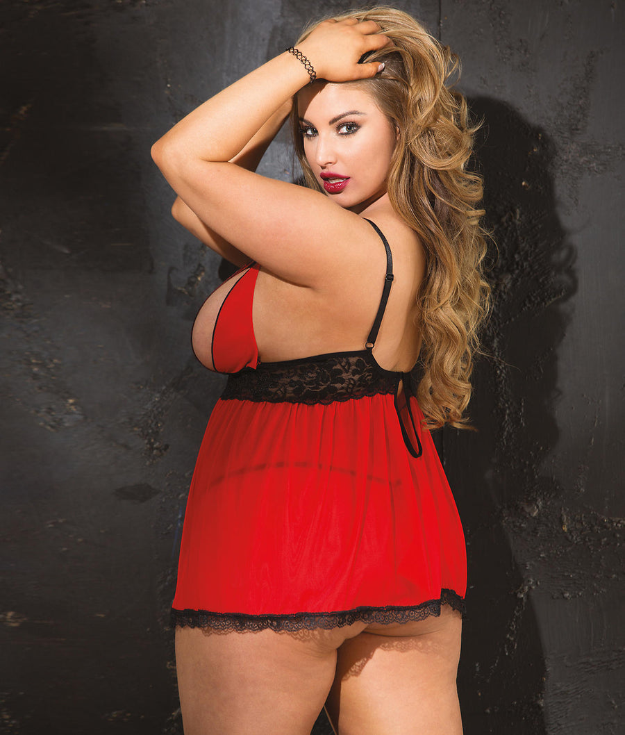 Red||Plus Size Peek-A-Boo Wireless Babydoll Set in Red