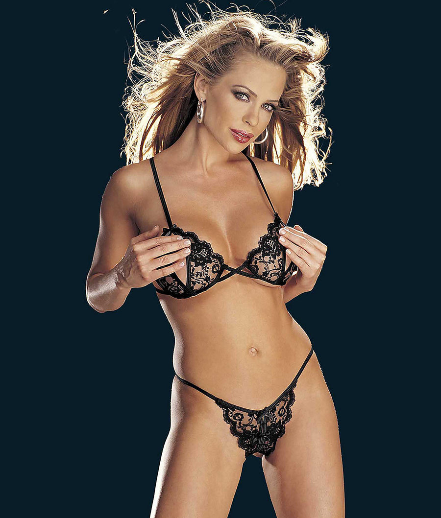 Black||Risque Collection Wireless Bra & Panty Set in Black