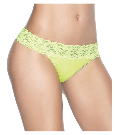 Lace Trim Thong in Neon Green