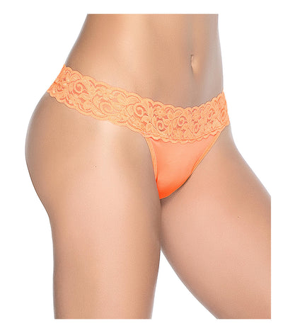 Lace Trim Thong in Neon Orange