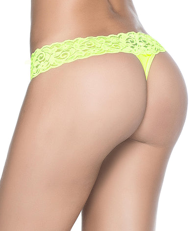 Lace Trim Thong in Neon Yellow
