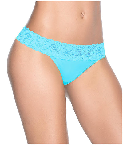 Lace Trim Thong in Turquoise