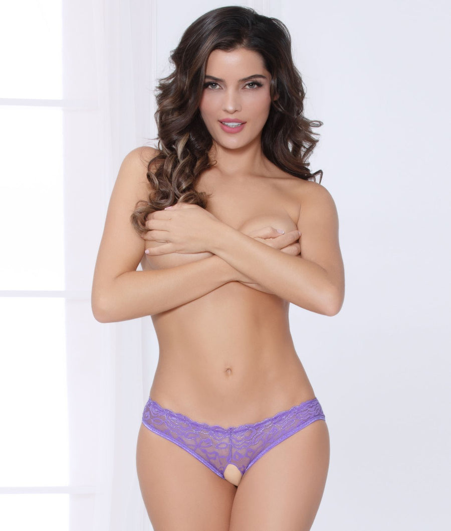 Purple||Crotchless Cage Back Bikini in Purple