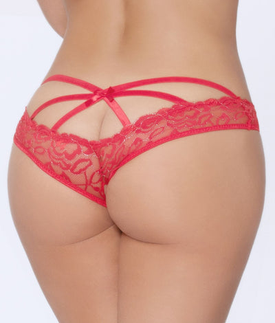 Crotchless Cage Back Bikini in Red