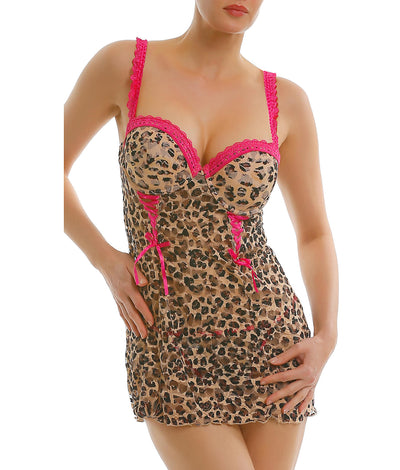 Rachel Convertible Push-Up Babydoll Set in Cheetah