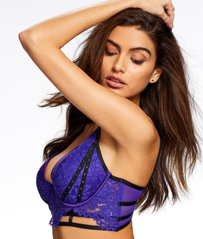 Esmerelda Plunge Bra in Black / Purple
