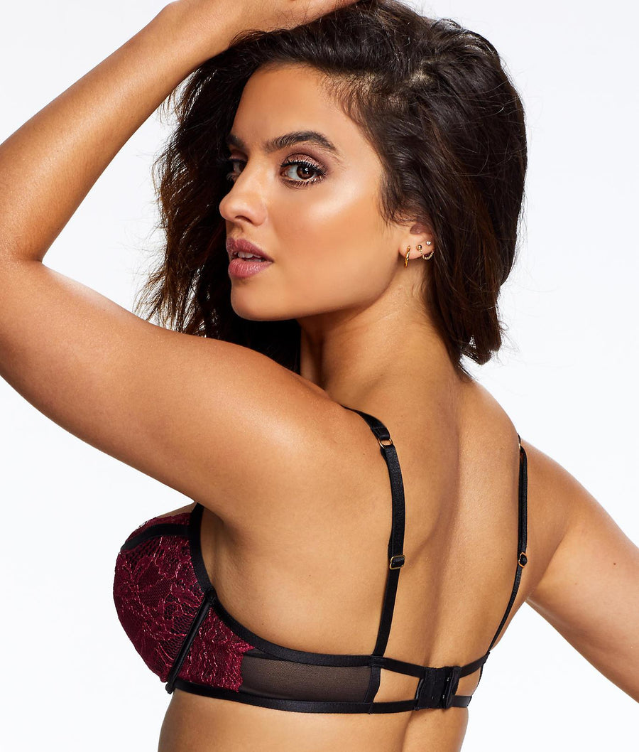 Maroon / Black||Georgia Plunge Bra in Maroon / Black
