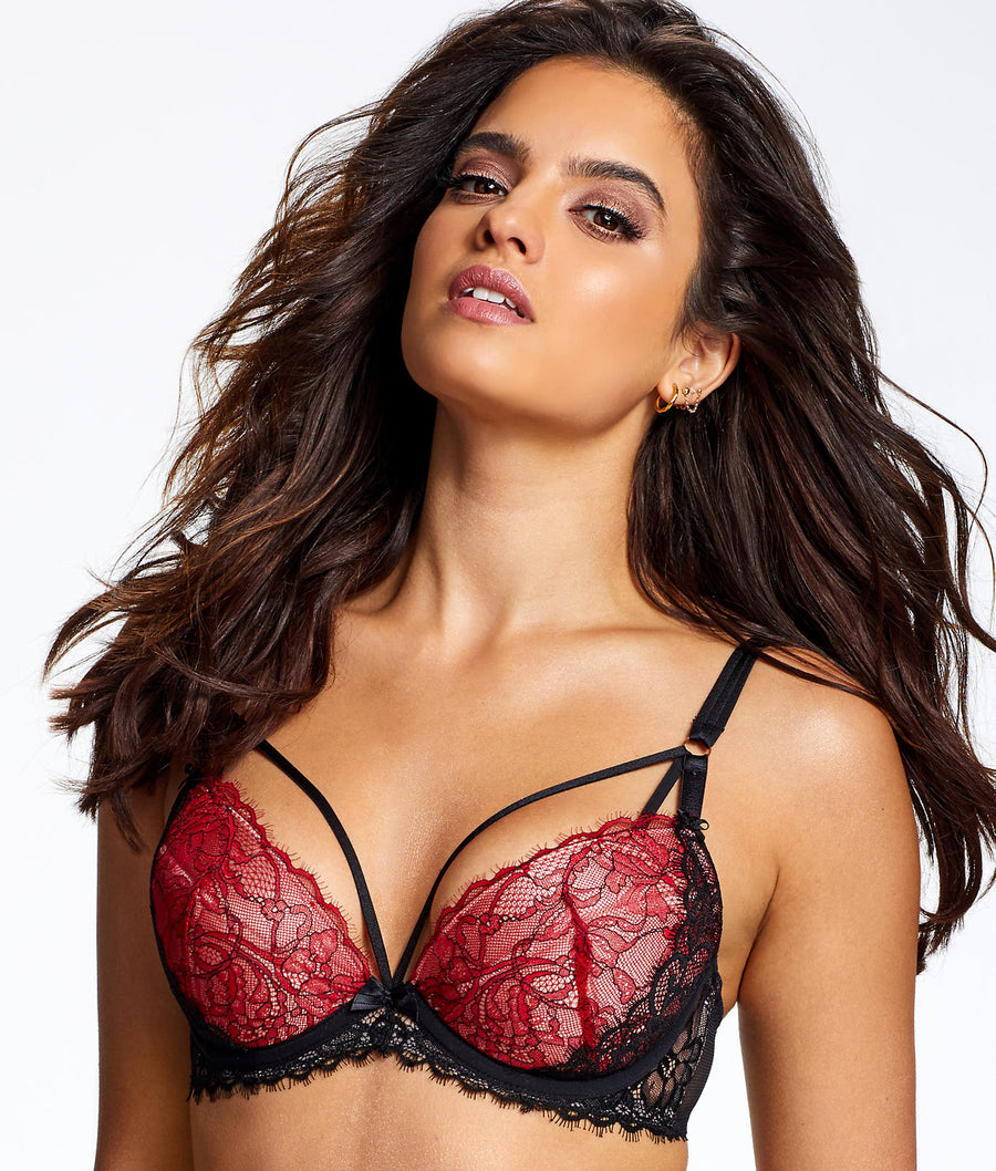 Black / Red||Love Passion Plunge Bra in Black / Red