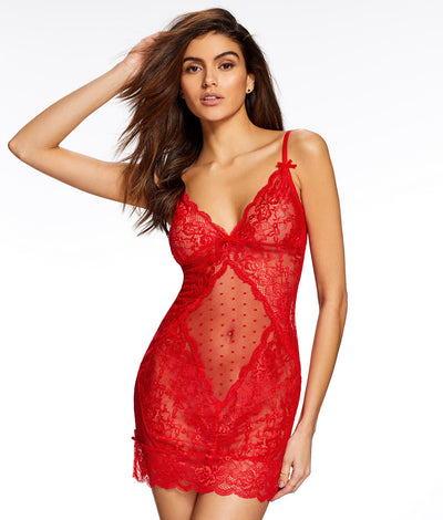 Sexy Polka-Dot Chemise in Red
