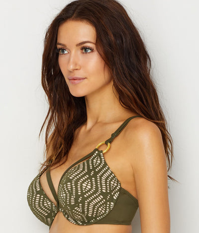Aroa Push-Up Bikini Top in Moss Green