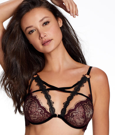 Leila Sheer Lace Strappy Bra in Burgundy