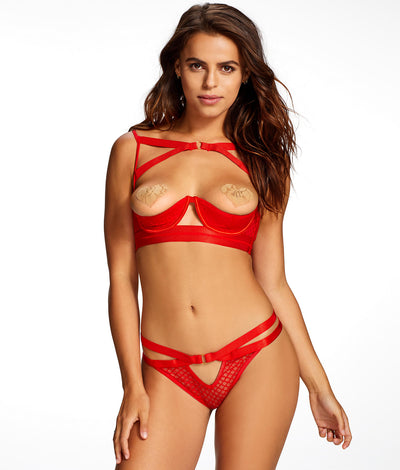Jessie Karleen Mix Crotchless Thong in Red