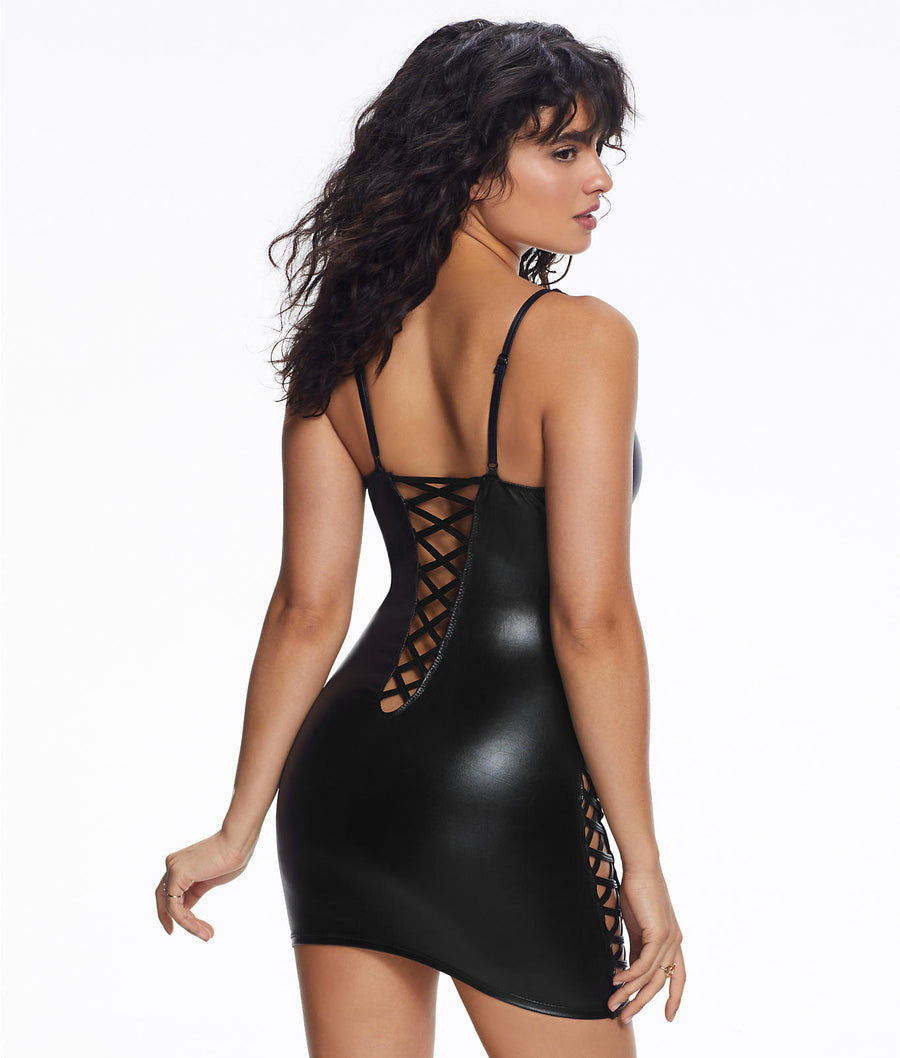 Black||Samara Wet Look Wireless Chemise in Black